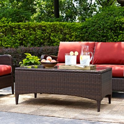 Crosley Kiawah Outdoor Wicker Glass Top Coffee Table