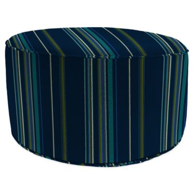 Outdoor Round Pouf Ottoman in Sunbrella® Stanton Brownstone