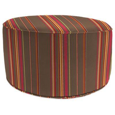 Outdoor Round Pouf Ottoman in Sunbrella® Stanton Brownstone