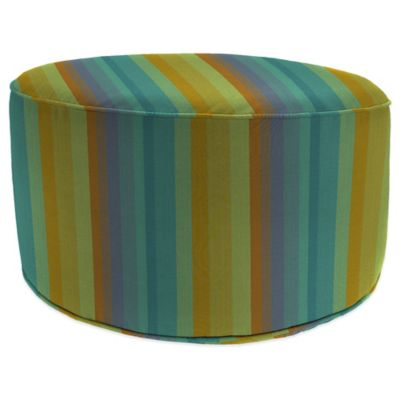 Outdoor Round Pouf Ottoman in Sunbrella® Astoria Sunset