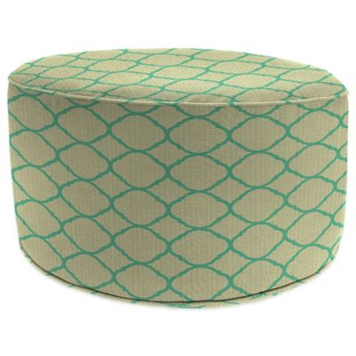 Outdoor Round Pouf Ottoman in Sunbrella® Accord Jade