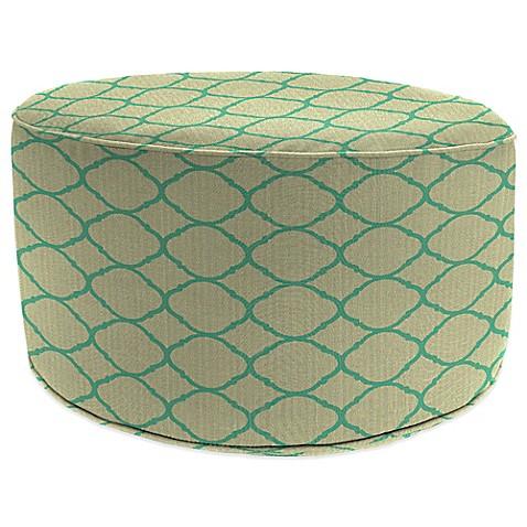 Outdoor round pouf ottoman in sunbrella accord jade for Ulani outdoor round pouf ottoman