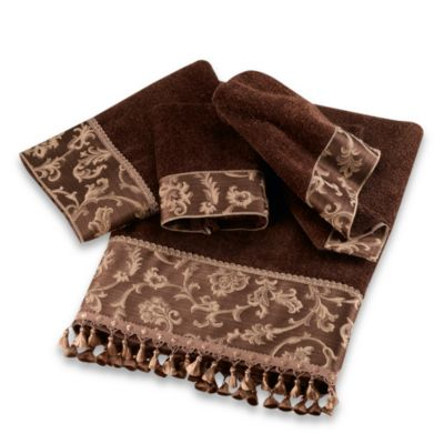 Avanti Damask Fringe Fingertip Towel in Mocha