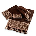 Avanti Damask Fringe Washcloth in Mocha