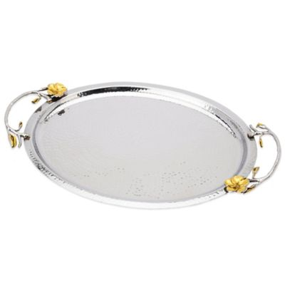 Classic Touch Oval Tray with Silver and Gold Frangipani Design