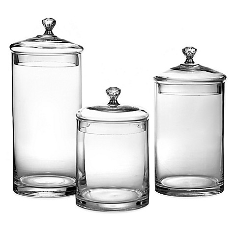 glass canisters with silver knobs set of 3 bed bath