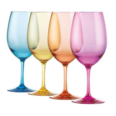 Wine Enthusiast Mixed Color Wine Glasses (Set of 4)