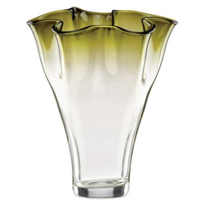 Lenox® Organics 12-Inch Ruffle Ombre Centerpiece Crystal Vase in Green