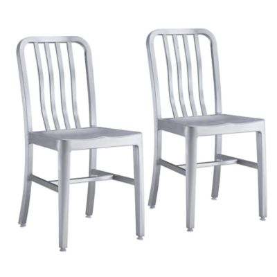 Zuo Modern Gastro Dining Chair in Brushed Aluminum (Set of 2)