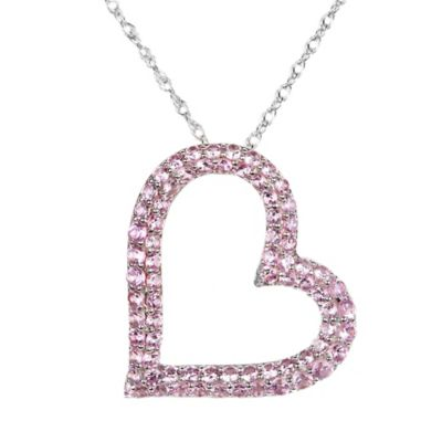 Sterling Silver Pink Sapphire 18-Inch Chain Double-Row Open Heart Pendant