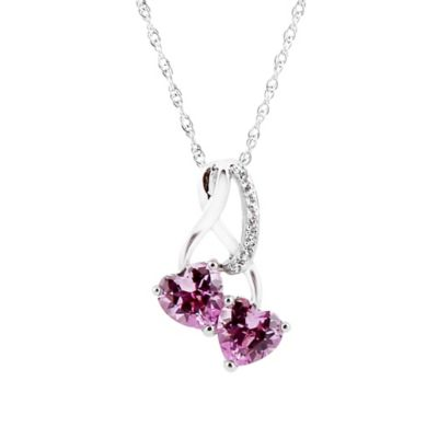 Sterling Silver Pink Sapphire cttw Diamond 18-Inch Chain Double Heart Pendant