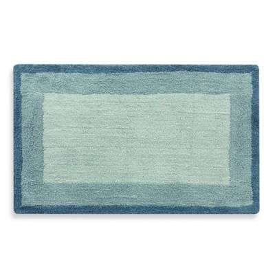 1-Foot 9-Inch x 2-Foot 10-Inch Double Frame Bath Rug in Blue
