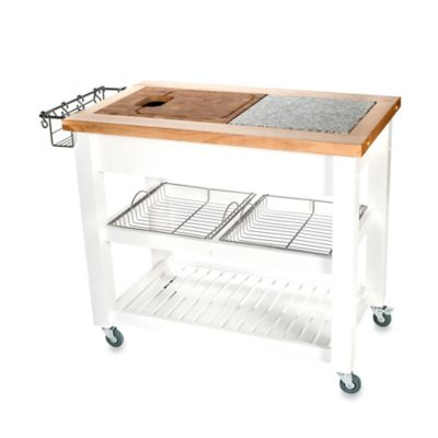 Chris & Chris Pro Chef Kitchen Island Work Station in White