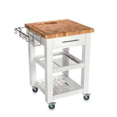 Chris & Chris Pro Chef 24-Inch Square Kitchen Island Work Station in White