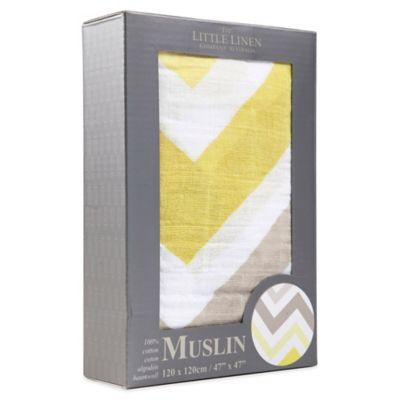 The Little Linen Company Chevron Muslin Swaddle in Mustard