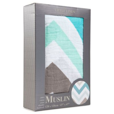 The Little Linen Company Chevron Muslin Swaddle in Teal