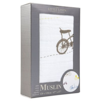 The Little Linen Company Bicycles Muslin Swaddle in Multicolor