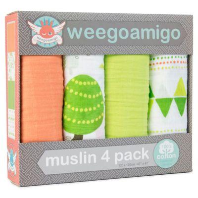 Weegoamigo 4-Pack Foxie's Run Muslin Swaddle