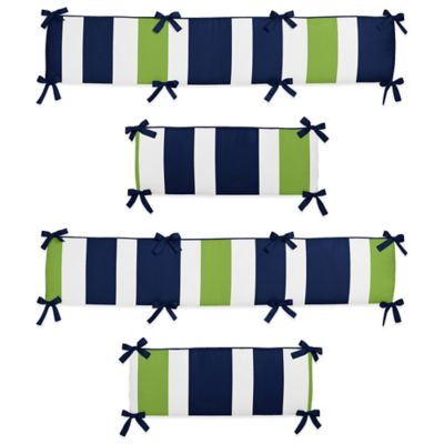 Sweet Jojo Designs Navy and Lime Stripe Crib Bumper
