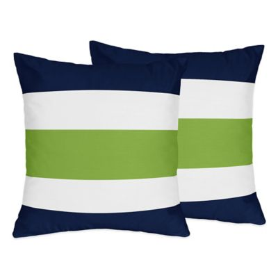 Sweet Jojo Designs Navy and Lime Stripe Throw Pillows (Set of 2)
