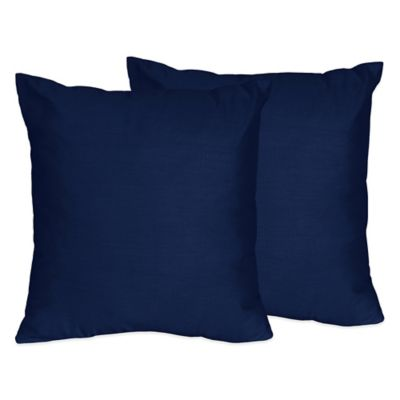 Sweet Jojo Designs Throw Pillows in Solid Navy (Set of 2)