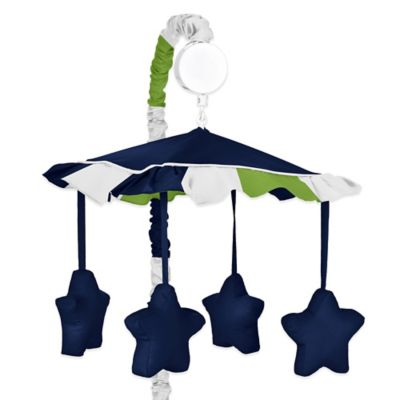 Sweet Jojo Designs Navy and Lime Stripe Musical Mobile