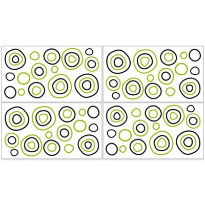 Sweet Jojo Designs Navy and Lime Stripe Dot Wall Decals