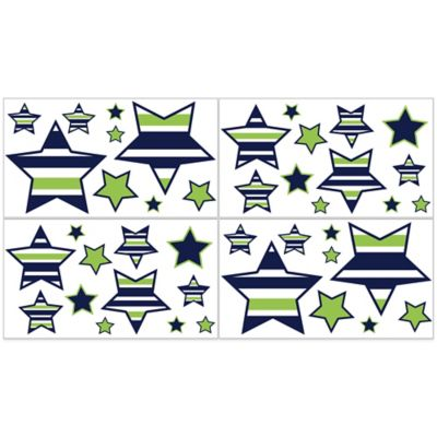 Sweet Jojo Designs Navy and Lime Stripe Star Wall Decals