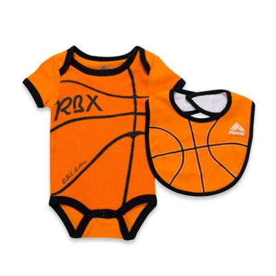 RBX Size 6-9M 2-Piece Basketball Bodysuit and Bib Set in Orange