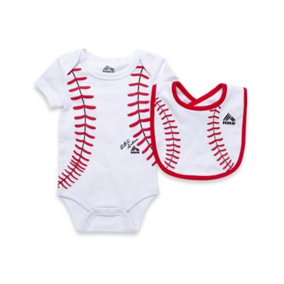 RBX 2-Piece Baseball Bodysuit and Bib Set in White/Red