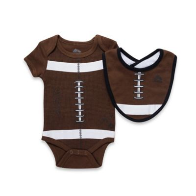 RBX 2-Piece Football Bodysuit and Bib Set in Brown