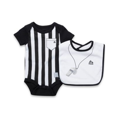 RBX Size 6-9M 2-Piece Referee Bodysuit and Bib Set in Black/White