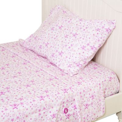 Kuviez Pink Star Wishes 3-Piece Twin Sheet Set in Pink/White