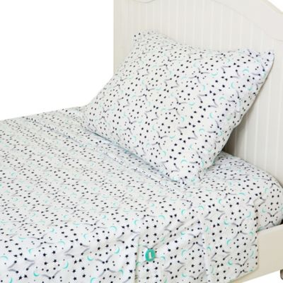 Kuviez Star Pops & Moon Drops 3-Piece Twin Sheet Set in Blue/Green