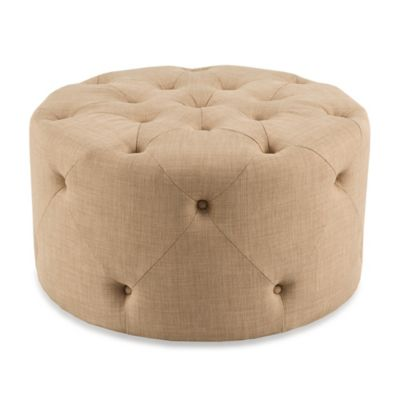 Madison Park Jenna Round Tufted Ottoman in Linen