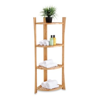 4-Tier Bamboo Corner Shelf