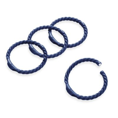 Magnetic Rope Shower Curtain Rod Rings in Indigo (Set of 12)