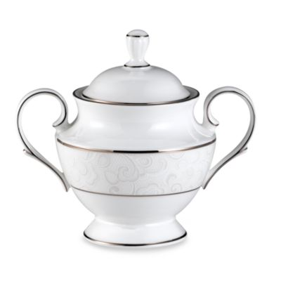 Lenox® Venetian Lace Sugar Bowl in White/Platinum