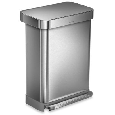 simplehuman® 55-Liter RectangularStep Can with Liner Pocket in Brushed Stainless Steel