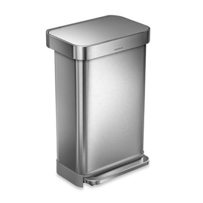 simplehuman® 45-Liter Rectangular Step Wastebasket with Liner Pocket in Brushed Stainless Steel