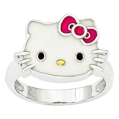 Hello Kitty® Fine Jewelry Sterling Silver Pink Bow Size 8 Ladies' Ring