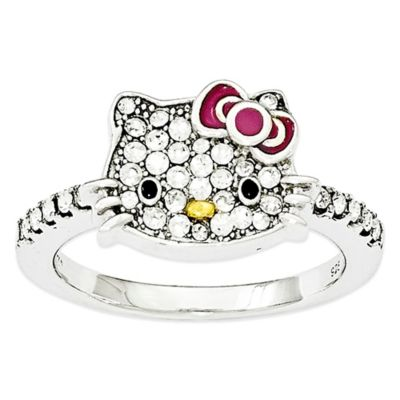 Hello Kitty® Fine Jewelry Sterling Silver and Crystal Red Bow Size 7 Ladies' Ring