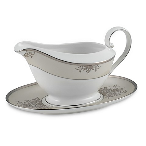 Floral Elegance Platinum Gravy Boat with Stand