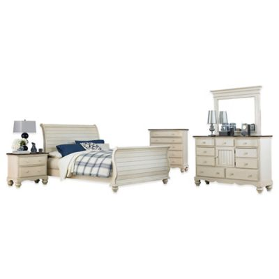 Hillsdale Pine Island 5-Piece King Sleigh Bedroom Set in Old White
