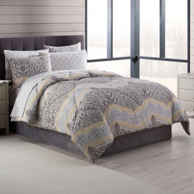 Neville 8-Piece Full Comforter Set in Grey/Yellow