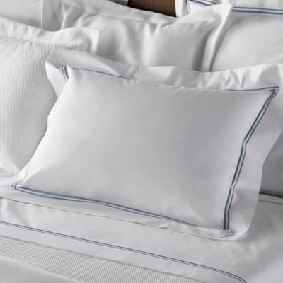 Frette At Home Piave Standard Pillow Sham in White/Aviator