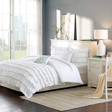 buy intelligent design waterfall reversible 4 piece twin twin xl comforter set in white from bed. Black Bedroom Furniture Sets. Home Design Ideas