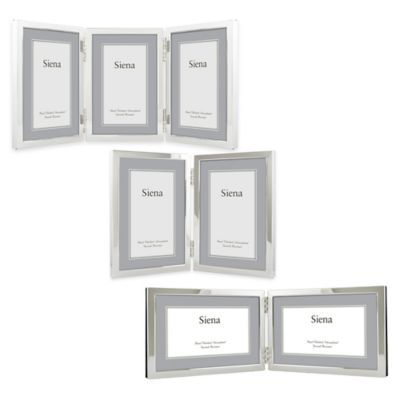 Siena Silver-Plated Narrow Border Plain 4-Inch x 6-Inch 2-Photo Picture Frame