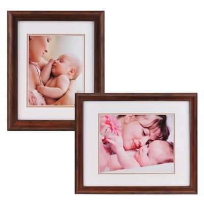 PhotoGuard 11-Inch x 14-Inch Portrait Frame with Double Mat in Walnut