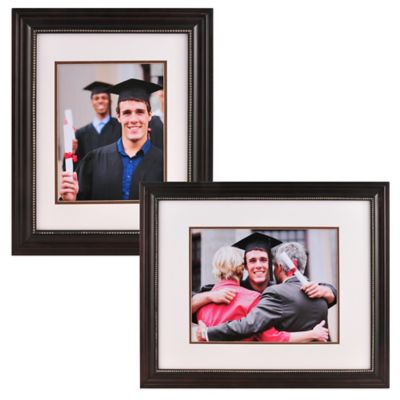 PhotoGuard 11-Inch x 14-Inch Portrait Frame with Double Mat in Brown/Silver Bead